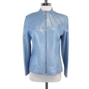 St. John Sport Blue Leather Zip Front Jacket